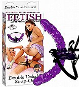 Připínací gelový penis Fetish Fantasy Double Delight Strap On
